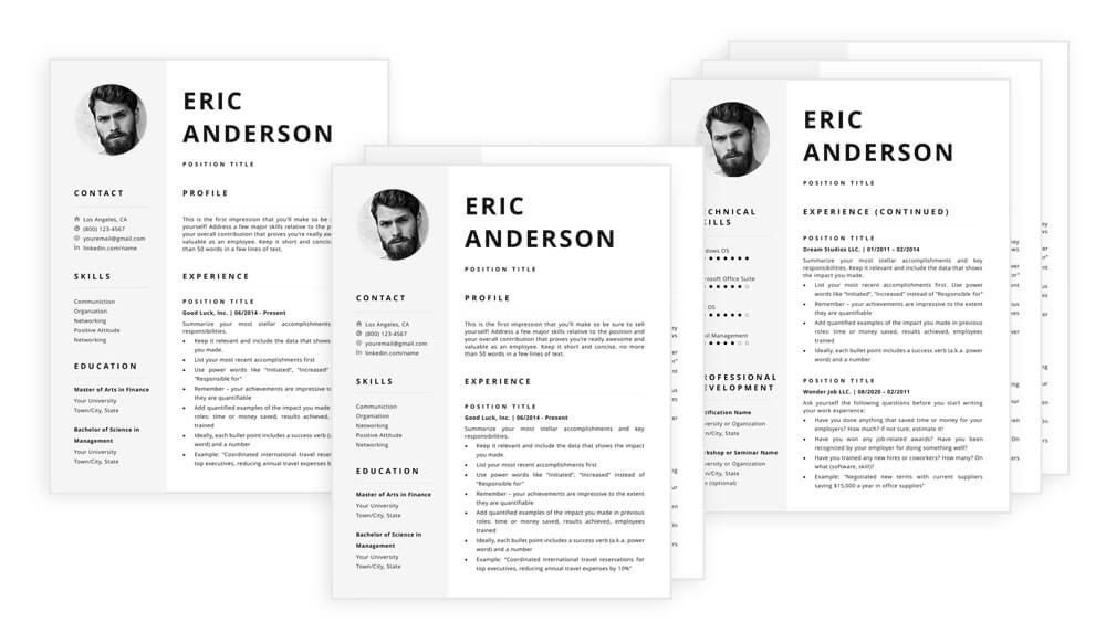 Resume template with photo Eric - one, two and three pages included