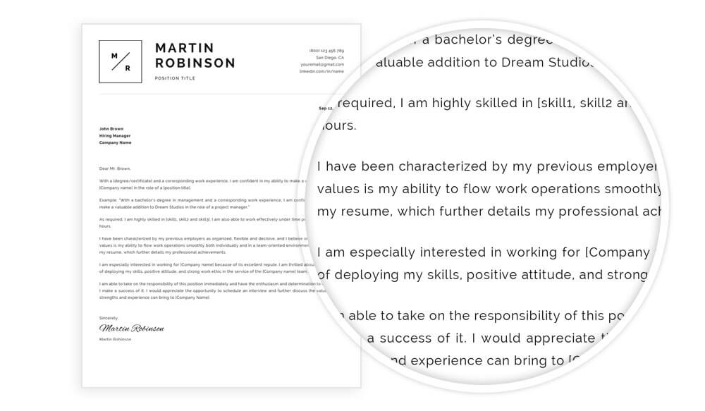 Cover letter example Martin