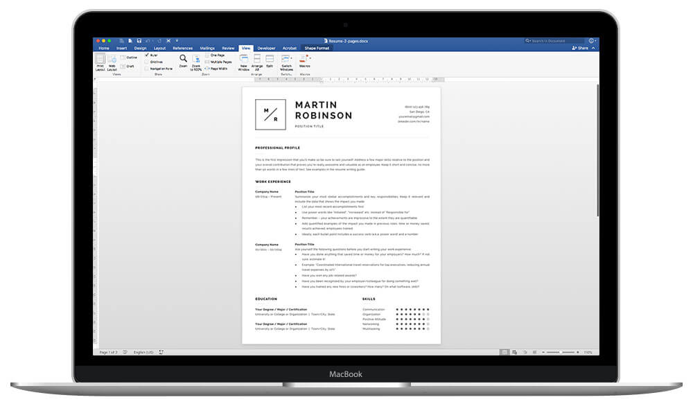 Easy to customize resume template for Word and Pages Martin